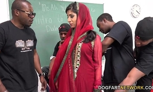 Nadia ali learns to handle a bunch of dark jocks