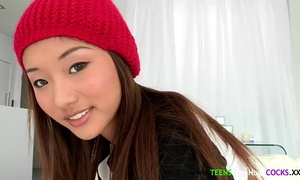 Petite oriental cocklovers nice-looking face jizz flow