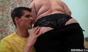 Cute plumper swallows his large meat
