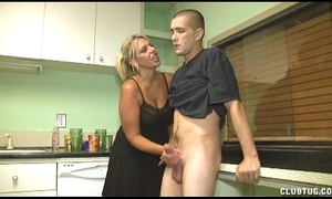 Dominant milf cook jerking in the kitchen