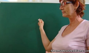 Marisa and her ally have a lesson with mature lesbo teacher