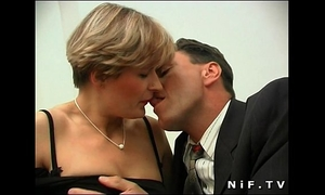 Short haired french milf in nylons acquires her butt pounded and facialized