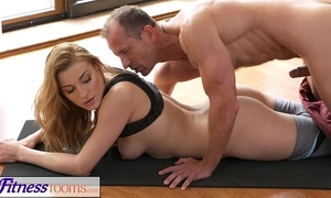 Fitnessrooms yoga slaver teaches juvenile student raunchy techniques