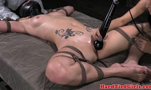 Spreadeagle bound up sub sex-toy on love button