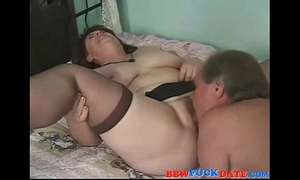 Curvy chunky older white women wearing dark stocking