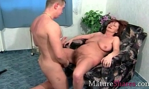 Natural granny drilled by juvenile hunk