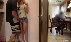 Fuck and irrumation step brother, step dad next room working